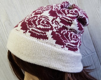 Rose beanie, flower slouchy beanie, rose hat, fair isle hat, knit slouchy beanie, knit hat, rose pattern, girls beanie, womens accessoies