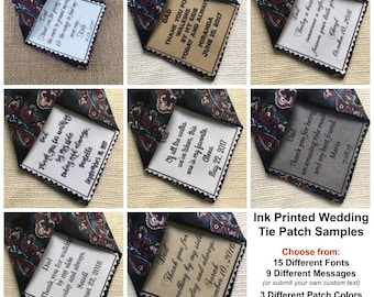 "Ink Printed WEDDING TIE PATCH - Choose Message and Font - 2.5"" x 2.5"" Sew on or Iron On - Father of the Bride, Father of the Groom, Groom"