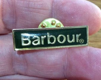 Green and gold enamel Barbour pin badge