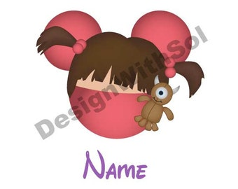 Boo customized with name of your choice available as file to print on iron on transfer paper Monsters Inc