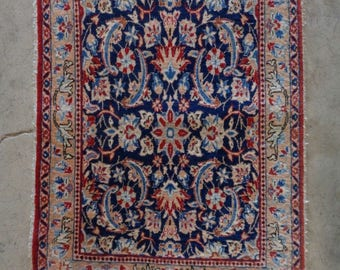 Persian Isfahan Antique Handmade Rug w. Ornate Floral Designs & Silk Highlights