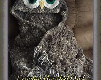 Hooded Owl Blanket, Crochet, Crochet Blanket, Owl Blanket, Hand Made, Custom Ordered, Throw, MJ Off The Hook Blanket