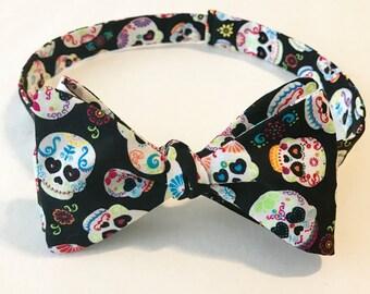 Sugar Skulls Freestyle/Self tie Bow tie, Adult, men, women, Accessories, Gift, Present, Dia de los Muertos