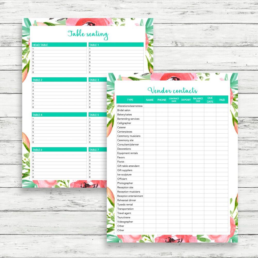 bohemian wedding planner diy wedding binder wedding checklist printable wedding planner. Black Bedroom Furniture Sets. Home Design Ideas