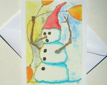 NEW - Set of 5 Blank Inside Note Cards - Wait For Me - Snowman, Note Card, Art Card