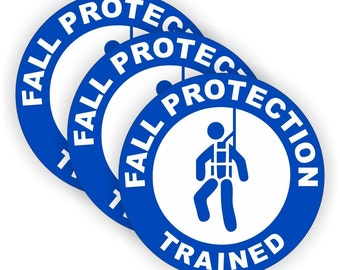 "Fall Protection Trained Blue/White (3 PACK) - 2"" Full Color Printed Vinyl Stickers - Hard Hat - Helmet - Phone - Laptop - Etc."