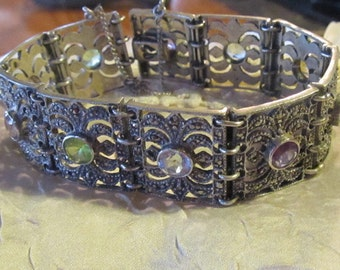 Sterling Marquisite bracelet with stones