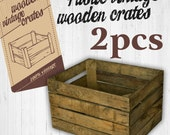 2 x Vintage Wooden Apple Crate Rustic Wood Box Wedding Decor Farmhouse Log Storage Cottage Living Photo Prop
