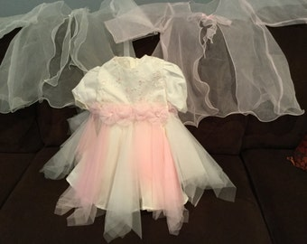 Handmade Baby girl ivory dress with pink tulle overlay for wedding, pageant ; 24 months - 2T NEW