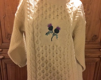 SALE Fair Isle Boho Vintage Highland Home Scotland Cable Knit Floral Jumper Pullover Sweater Cottage Chic Nordic Fishermans