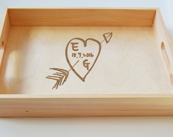 Personalised Wooden Tray, Breakfast Tray, Wedding Tray, Anniversary Gift Engraved, Valentines Gift 40x30cm