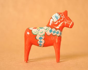 Swedish Dala horse or Dalarna - red wooden horse - Dalecarnian - traditional Sweden- vintage