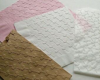 1 Dozen Dinner Heart Embossed Paper Napkins  26 Colours
