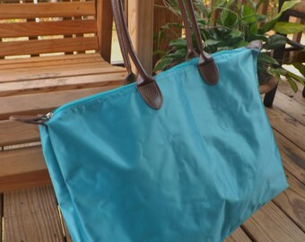 Monogrammed Nylon Tote, Large Shoulder Bag, Leather Strap Overnight Tote, Turquoise, Aqua Shoulder Tote, Personalized