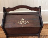 Vintage Wood Sewing Box with Tulip Decoration
