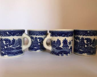 Vintage Set of (4) Blue Willow  Coffee Cup Mug Marked Japan in Blue -Very Old