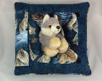 Wolf Pillow with stuffed wolf inside