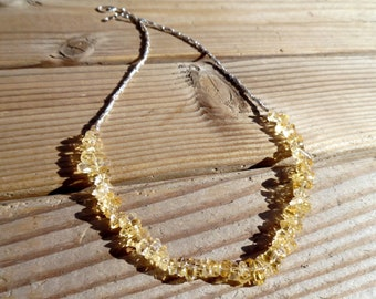Citrine Necklace and Sterling Silver, November Birthstone, Citrine Chip Necklace and Hill Tribe Silver, Heart Clasp, Artisan Style