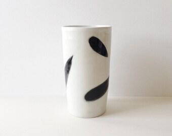 Porcelain tumbler, coffee mug, tea mug, cup /  black and white design / ready to ship