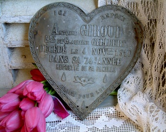 Antique french funerary plaque. Cast zinc ornate heart. Memento mori. Tombstone plaque. 1916. World War I. Cemetary grave marker