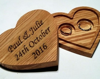Wedding Ring Box, Personalised Double Wedding Ring Box, Valentines Day