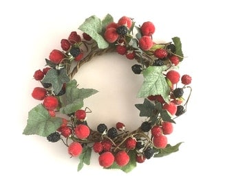 Summer Berry Wreath Wired Sugared Berries Ring Faux Blackberries Raspberries Crab Apples Table Home Decor Retro Fruit Crown