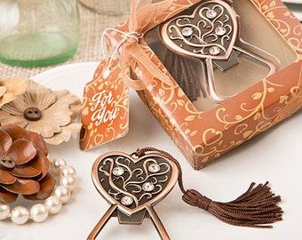 12 Antique Copper Heart Bottle Opener - Bottle Openers - Wedding Favors - Antique Bottle Opener (5263)