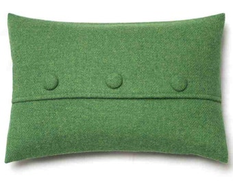 Harris Tweed Cushion Green Buttoned