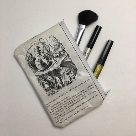 Alice in Wonderland Book Themed Pencil or Make-up Pouch - Alice and the Caterpillar