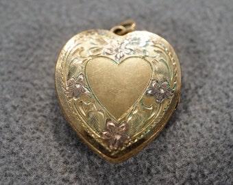vintage gold filled decorative heart pendant locket   **M1