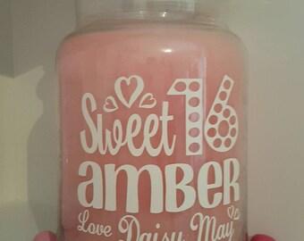 Personalised Candle Jar Sticker/Label Happy Sweet 16 Sixteen Teen Birthday Gift/Present Yankee Keepsake Daughter Granddaughter Niece Sister