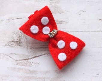 Girls red bow hair clips, felt bow hair accessories - Diamante red bow whites, UK seller, stocking filler