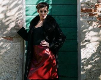 Vintage Leather Skirt  burgundy / red brand EKLE Made in Italy OOAK