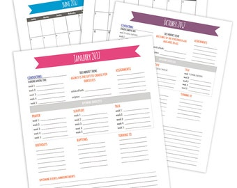 LDS Primary Presidency Planner and Conducting Sheets - 2017 - Printables - Choose the Right