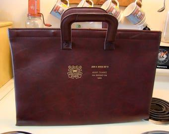 Vintage Coast Guard portfolio briefcase, Faux leather briefcase portfolio, Vintage Coast Guard