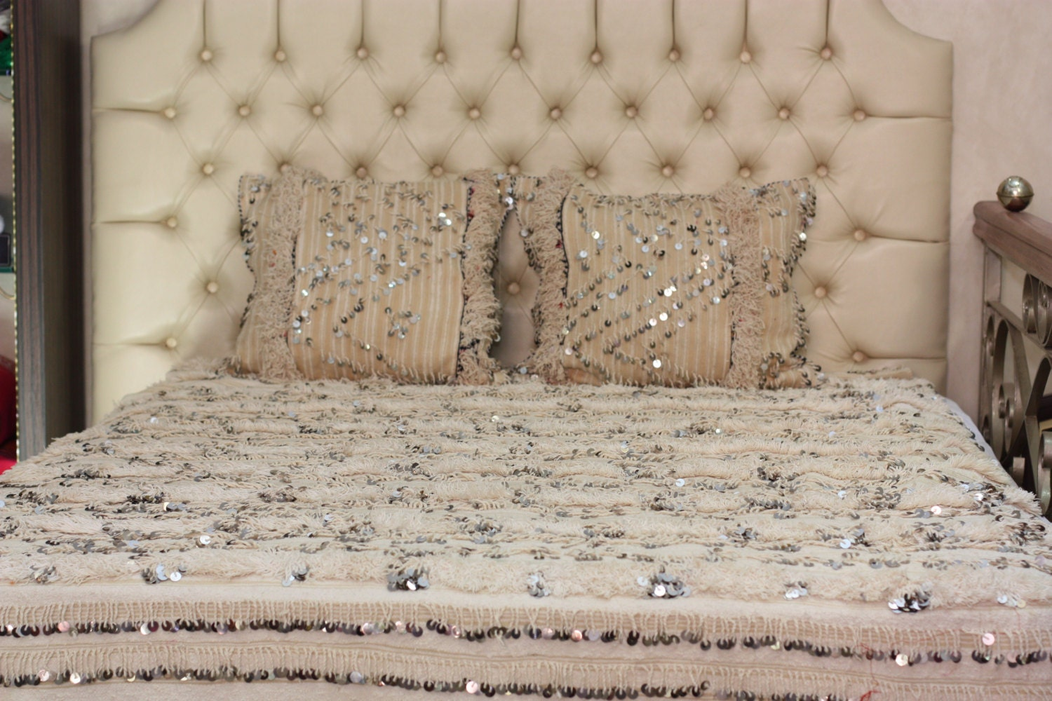 handira vintage mariage marocain blanket paillettes 100 fait. Black Bedroom Furniture Sets. Home Design Ideas