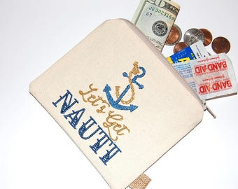 Nautical Pouch, Funny Pouch, Gift for her, Canvas Pouch, Coin Purse, Change Pouch, Small Wallet, Thin Wallet, Anchor Pouch, Credit Card Bag