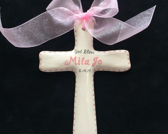 Personalized Baptism Cross - Baptism, Christening or Shower Gift