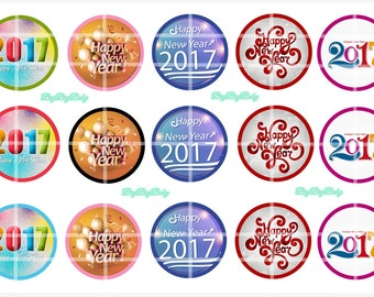 "2017 Happy New Year Bottle Cap Images 1""  BCI"