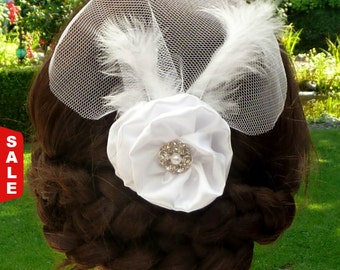 Sale - 15 % Noble Wedding Hair blossom fascinator for the bride white rose fabric flower satin feather