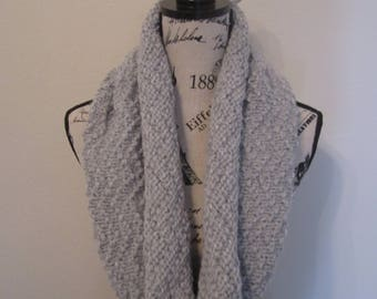 Hand-Knitted Silver Grey Chevron Cowl