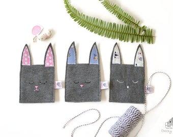 Easter bunny bag, Easter pouch, Easter bag, bunny rabbit bag, Easter gift bag, bunny ears bag, small felt bag Easter, bunny ears pouch