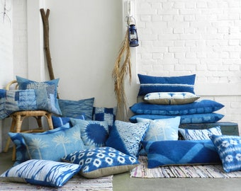 Natural Indigo Arashi Shibori washed Linen Pillow Ink Blue hand dyed Marble Pattern Cushion 30x50 cm 12x20 inches