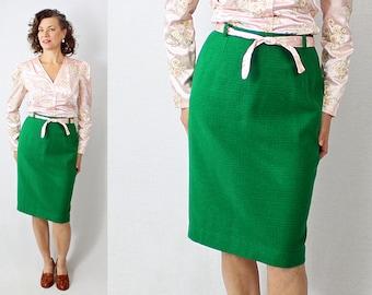 """50s skirt / 1950s Skirt / Wool Skirt / Green Skirt / Plaid Skirt / 1950s Wool Skirt / 50s Wool Skirt / Green Wool Skirt / 28"""" Waist"""