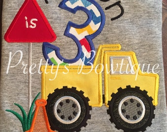 Boys construction Birthday Shirt or Bodysuit  - Custom Birthday Shirt Dump Truck -- Boys Construction Shirt-- Boys Birthday T-Shirt