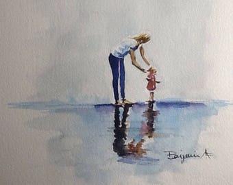 "Original Watercolour Painting,""Beach Walk"" 8x8 free shipping North America and UK."