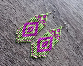 Beaded Native  American  Earrings  Inspired. Lime Green Purple Earrings. Gift For Her. Beadwork