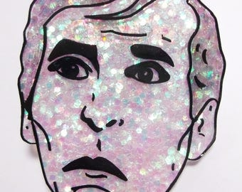 Kenneth Williams 'Ooh Matron' Carry On glittery illustrated brooch/badge