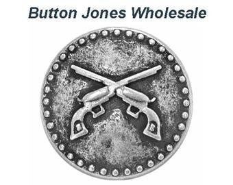 50 pcs. Pistols 3/4 inch ( 20 mm ) Metal Buttons Antique Silver Color