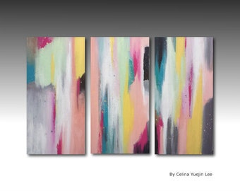 "Original abstract Textured Acrylic painting on canvas set of 3 ""wonderful moment 03"""